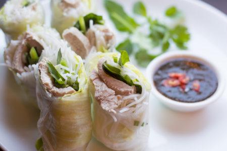 Pork Spring Rolls with Garlic Dipping Sauce