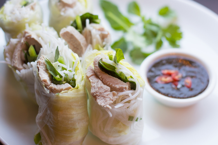 Pork Spring Rolls with Garlic Dipping Sauce