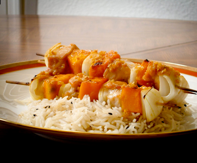 pumpkin chicken kabob
