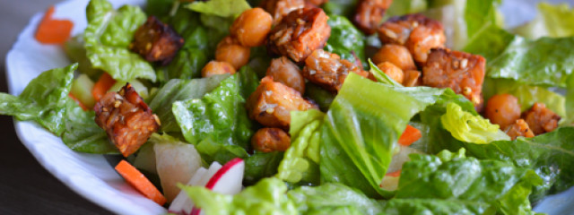 BBQ Garlic Tempeh Chickpea Salad