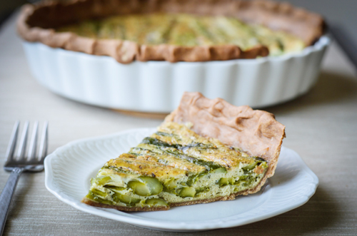 Asparagus Quiche with Garlic Whole Wheat Crust