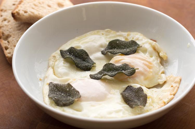 garlic fried eggs with sage and sea salt