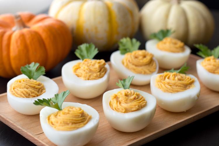 Garlic Gold Deviled Eggs