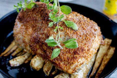 Garlic-Encrusted Pork Loin Roast with Parsnips