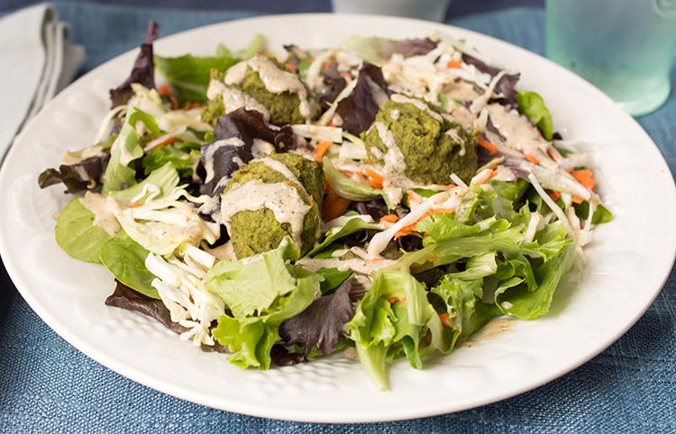 Organic Baked Falafel Salad with Hummus Dressing Recipe