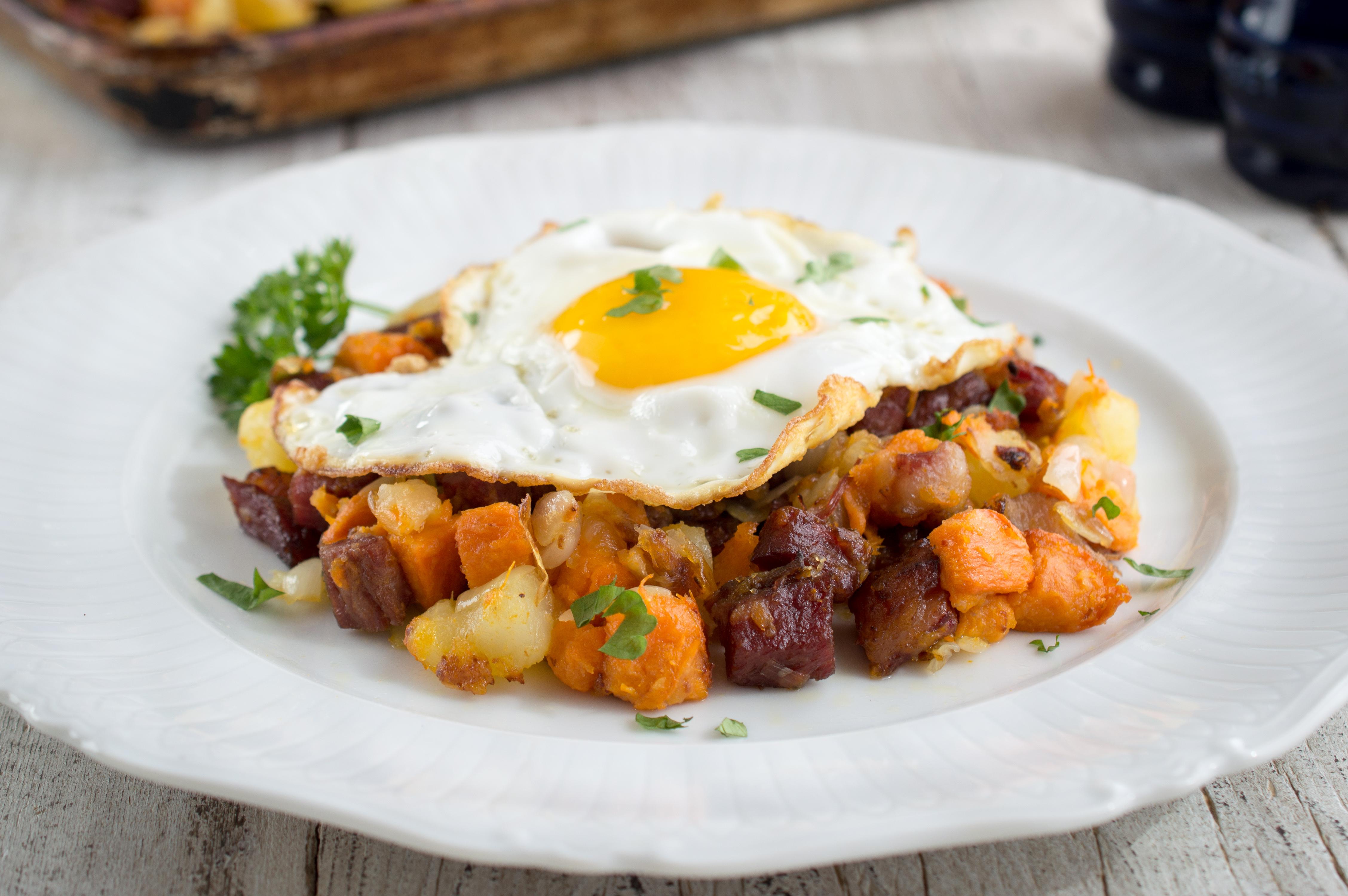 Organic Garlic Gold Recipe: Corned beef sweet potato hash